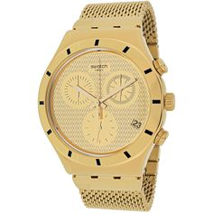 This classic timepiece by Swatch features a stainless steel case and stainless steel mesh bracelet, a gold-tone dial, precise quartz movement and a water-resistance level of up to 30 meters finish thi