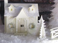white putz house for Christmas Very sweet, adore those simple window wreaths! Christmas Paper, Christmas Projects, All Things Christmas, Christmas Home, White Christmas, Vintage Christmas, Christmas Glitter, Xmas, Christmas Village Houses