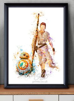 Star Wars The Force erwacht Rey BB-8 Aquarell Kunst Silhouette Poster Print - Wand-Dekor - Aquarell - Hauptdekor - Kids Decor