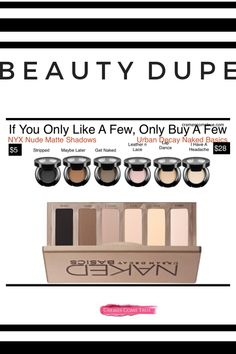 Drugstore Makeup Dupe: NYX Nude Matte Shadows are velvety and filled with rich pigment. You can't go wrong with one of these timeless, neutral shadows. Drugstore Makeup Dupes, Beauty Dupes, Beauty Makeup, Beauty Bar, Urban Decay Eyeshadow, Nude Eyeshadow, Natural Makeup Looks, Natural Beauty Tips, Makeup Storage Box