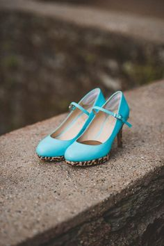 Eclectic blue wedding shoes with leopard bottoms | Viva Love Photography