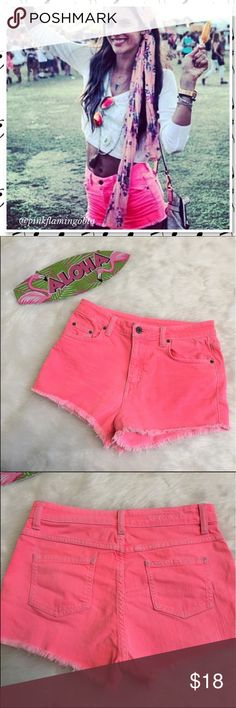 """LF Carmar Hot Pink High Rise Jean Cutoffs LF brand Carmar high rise hot pink jean cutoffs. Super girly and ready for your travels. 5 pocket design, zip and button closure with frayed hem. Corners and edges have some fading to the color from the wash but it goes with the deconstructed look. Party girls photo from Pinterest the rest are of actual product. Size 27 waist 14.5"""" (flat) inseam 2"""" and rise 10.5"""". B125 LF Shorts Jean Shorts"""