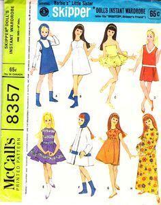 Barbie Dolls : Image : Description Free Copy of Pattern - McCalls 8357 (for Skipper) Barbie Sewing Patterns, Doll Patterns Free, Sewing Dolls, Mccalls Patterns, Doll Clothes Patterns, Vintage Patterns, Doll Clothes Barbie, Barbie Dress, Barbie Doll