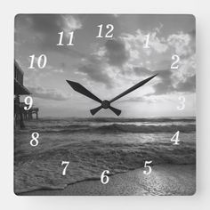 A Glorious Beach Morning Grayscale Square Wall Clock Cocoa Beach Florida, Florida Beaches, Black And White Beach, Ocean Photography, Wall Clocks, Hand Coloring, Sunrise, In This Moment, Prints