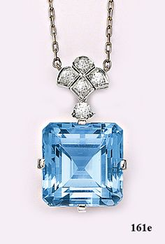 Art Deco Emerald-cut aquamarine, diamond and platinum necklace. Tiffany & Co