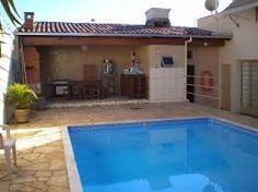 Resultado de imagem para área de lazer com piscina e churrasqueira rústica Run Around, Barbacoa, Swim Top, Jacuzzi, Gazebo, Bbq, Swimming, Backyard, House Styles