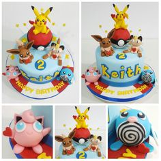 Pokémon cake starring pokeball, pikachu, eevee, poliwag, meowth and jigglypuff. All figurines made with homemade marshmallow fondant and rice krispy treats cores. Pokemon Birthday Cake, Pokemon Party, Pokemon Pokemon, Fondant Cake Toppers, Fondant Cakes, Pikachu Cake, Pikachu Pokeball, Baby Boy Birthday Themes, Making Fondant