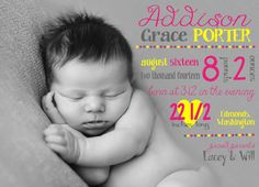 Baby Girl Birth Announcement, Newborn Birth Announcement, Baby Announcement Card, Newborn Birth Stats, Pink & Yellow Newborn Announcement