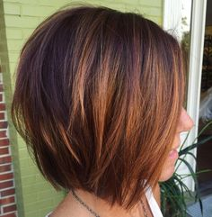 Burgundy and Copper Balayage Bob for Brunettes