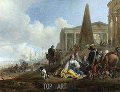 """Jan Baptist Weenix (1621 -1660) """"Средиземноморская гавань""""."""