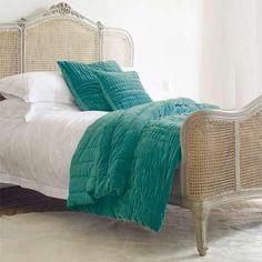 EdytaDesigns: Bedding - Peacock Blue Stonewash Velvet Quilt - Graham and Green - linenes Velvet Bed, Velvet Quilt, Teal Bedding, Blue Comforter, Green Blanket, Bedroom Fireplace, Blue Quilts, Peacock Blue, Houses