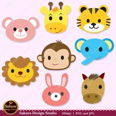 Lovely Animals Digital Scrapbook Paper Monkey,Tiger,Elephant,Rabbit,Lion,Bear,Giraffe,Horse 8 Clipart, Paper Crafts, Cards