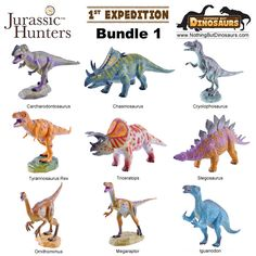GeoWorld Jurassic Hunters Realistic Dinosaur Toy Figure Models With Fact Cards 9 Piece Set - BUNDLE 1 | Nothing But Dinosaurs