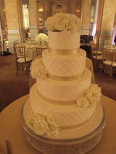 quilted wedding cake with pearl details