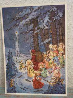 schöner alter Adventskalender  Weihnachtsmann, Christkind, Engel ,Fabig-Distling