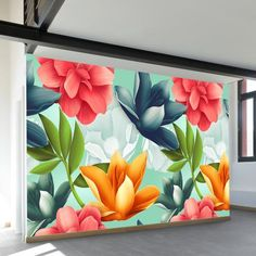 Shop our most popular wall murals. These wall murals have struck a chord with thousands of people. Wall Painting Decor, Mural Wall Art, Flower Mural, Flower Art, Diy Canvas Art, Acrylic Painting Canvas, Painting Inspiration, Graffiti, Modern Wall Paint