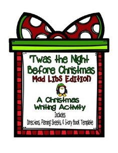This Christmas writing activity is a fun way to practice grammar and to let students show off their creativity! Students choose 58 of their own words (using different parts of speech) to create their own version of 'Twas the Night Before Christmas.   With this fun activity set, there are so many balanced literacy options.
