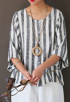 Johnature Women Striped Shirt Cotton Linen Top O-Neck 2018 Summer New Vintage O-Neck Seven Sleeve Blouses Loose Button Shirts-JetSet-JetSet Chic Winter Outfits, Casual Tops, Button Shirts, Pants For Women, Cotton Linen, Vintage, Clothes, Inspirational, Dresses