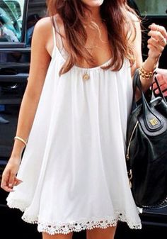 White Crochet Hem Cute Little Slip Dress
