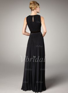 A-Line/Princess Scoop Neck Floor-Length Pleated Chiffon Zipper Up Regular Straps Sleeveless Black Spring Summer Fall General Evening Dress