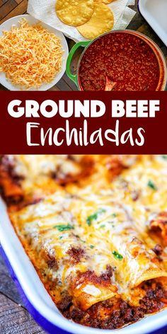 Ground Beef Enchiladas Recipe These Beef Enchiladas are so tasty and easy, you'll never go back to canned enchilada sauce. Corn tortillas filled with flavorful ground beef, melty cheese and a killer homemade red enchilada sauce. Easy Beef Enchiladas, Ground Beef Enchiladas, Homemade Enchiladas, Cheese Enchiladas, Red Enchiladas, Beef Enchiladas Corn Tortillas, Recipes With Corn Tortillas, Ground Beef Tacos, Recipe For Enchiladas