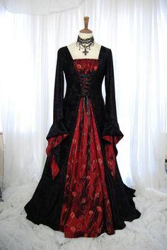 Medieval pagan wedding prom dress gown LOTR hand by RoxxOnline, $191.00