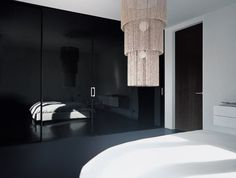 black glass to make sepreate photoshoot rooms with, v    Black Lacquered Glass Sliding Doors with Anodized Aluminum Frame and Lacquered Fixed Panels