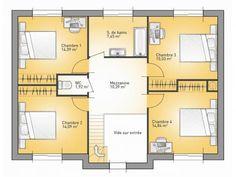 Plans De Maison : 1er étage Du Modèle City : Maison Moderne à étage De  163m2. 4 Chambres + 1 Suite Parentale #Maison #contemporaine #moderne #Plans  # ...