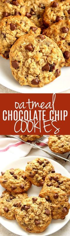 Oatmeal Chocolate Chip Cookies recipe - soft and chewy cookies with oats and chocolate chips. Thanks to melted butter, the dough is easy to stir up - no mixer needed!
