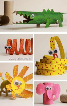 Animales con rollos de cartón | Aprender manualidades es facilisimo.com