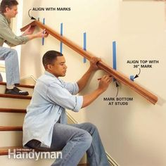 Install a New Stair Handrail: If you have a loose stair rail, a weak stair rail or no rail at all, fix the problem by installing a solidly anchored railing. More accidents happen on stairways than anywhere else in the house, and a strong stair rail goes a long way toward making stairs safer and easier to use. Read more: http://www.familyhandyman.com/carpentry/install-a-new-stair-handrail/view-all