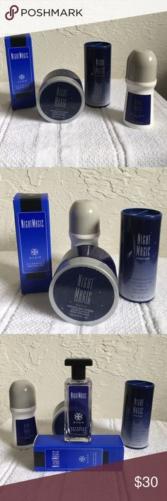 4-piece night magic evening musk collection Perfumed skin soft net, shimmering body powder, cologne spray and roll-on deodorant Avon Other
