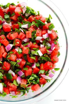 Watermelon recipes: Add some serious spice to your melon with this Watermelon Salsa recipe from Gimme Some Oven. Watermelon Hacks, Watermelon And Feta, Spicy Recipes, Cooking Recipes, Healthy Recipes, Vegetarian Recipes, Dishes Recipes, Kraft Recipes, Recipes Dinner
