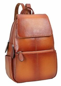 39f56ab3c7f Heshe Womens Leather Backpack Flap Casual Daypacks Fashion Bag for Ladies  and Girls
