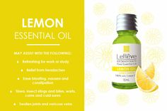 Lemon essential oil may assist with the following: refreshing for work or study…