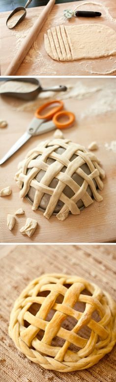 Bread Baskets: Similar to a bread bowl, only a basket! Turn a stainless steel bowl upside down, generously grease it to prevent the dough from sticking, create a basket weave with your dough strips around the bowl, and bake for about 25 minutes. These would make for great individual salad bowl servings, or filled with snacks for a picnic or food buffet.