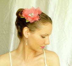 Coral Hair Flower with Pearls