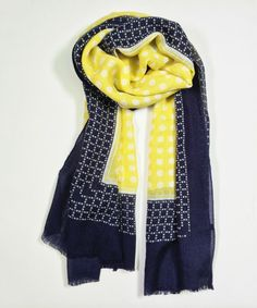 Another great find on #zulily! Yellow & Navy Polka Dot & Geo Wool-Blend Scarf by East Cloud #zulilyfinds