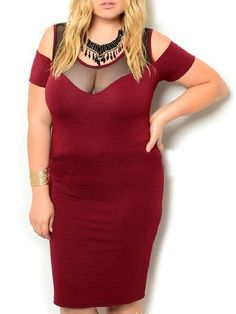 Assorted Colors Hollow Out Seethrough Stunning Round Neck Plus Size Bodycon Dress #ClothingOnline #PlusSizeWomensClothing #CheapClothing #FashionClothing #womenswear #sexydress #womensdress #womenfashioncasual #womensfashionforwork  #fashion #womensfashionwinter