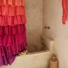 tie-dye curtains, natural stone bath by StarMeKitten