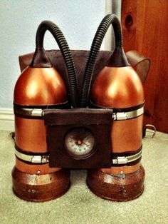 Making a Steampunk Jetpack (In less than a week!)     1. Airtanks   Got two 2-liter soda bottles and painted them a coppery-bronze color....