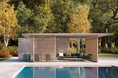 Pavilion H double - Self-supporting pergola / aluminum / painted aluminum / wooden by KETTAL Pool House Designs, Pergola Designs, Pergola Plans, Pergola Kits, Cheap Pergola, Diy Pergola, Pergola Ideas, Pergola Aluminium, Moderne Pools