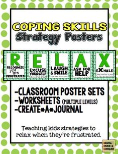 Teaching kids to RELAX by using skills and strategies in the classroom.  Poster sets, printables, and more. $