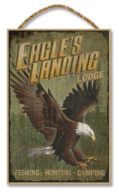 """Eagles Landing Lodge Rustic Advertising Wooden 7"""""""" x 10.5"""""""" Sign"""
