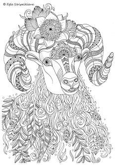 Beautiful Zentangle Horned Goat Artwork By Artist Egle Stripeikiene