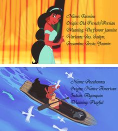What their names mean: Jasmine and Pocahontas