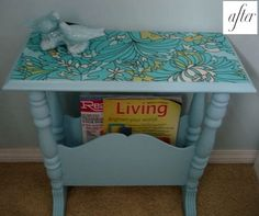 Paint and reuse! Don't throw out that old table or chair? Repaint and reuse! I love this! Sand it, paint it, stain it, mosaic, mod podge and a piece of pretty fabric. The possibilities are endless and WAY cheaper than getting new pieces.