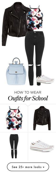 """Schooled"" by beautyborealis on Polyvore featuring Topshop, Converse, Dolce&Gabbana, women's clothing, women, female, woman, misses and juniors"