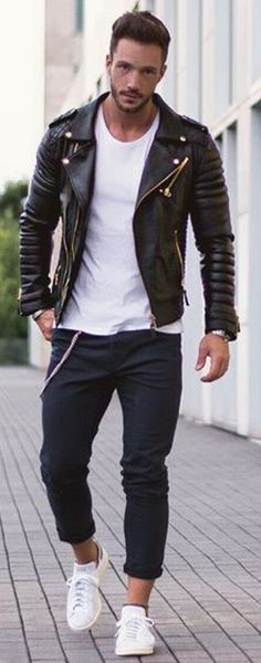 Black and White and Leather: How can you fail with this look? Follow rickysturn/mens-casual for the hottest Men's Street Style Trends and Inspirations!