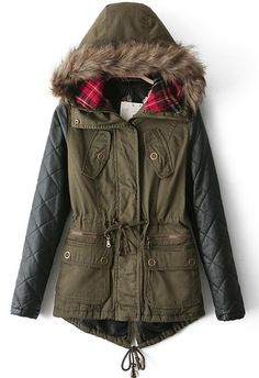 SALE Army Green Contrast PU Leather Faux Fur Hood Coat Shop the  SALE at ba4c81b826f2